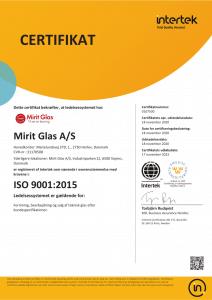 Mirit Glas A/S ISO:2015 Certifikat dansk